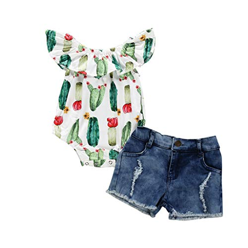 ❤️ Mealeaf ❤️ Toddler Kid Baby Girls Sleeveless Cactus Prints Romper Denim Shorts 2PC Outfits(Blue,90)]()