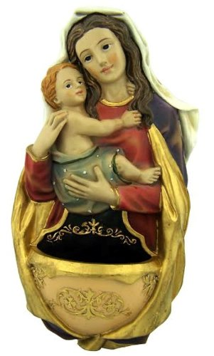 Madonna and Child Statue 7 Inch Painted Resin Holy Water Font for Home or Chapel -