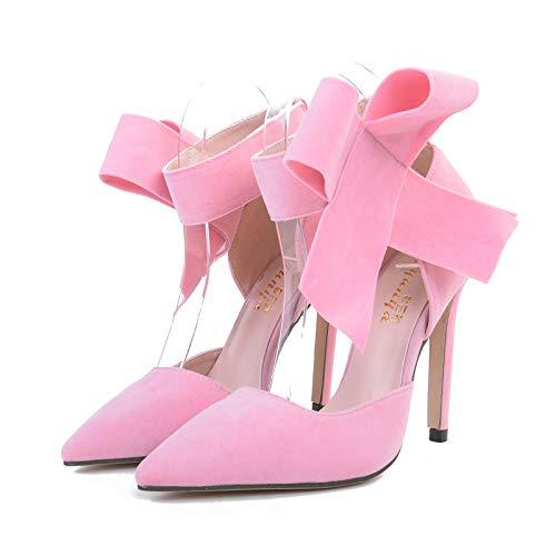 Dimensione 41 High Blu Bowknot Loop Hook Heel Women Pumps Rosa colore Strap Shoes Eu Fuxitoggo FPwqAO4F