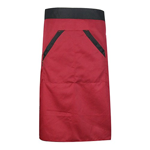 [Unisex Cooking Bib Apron Chef Waitress Waiter Waist Half Bib Apron with 2 Pocket (Color: Red) N@N] (Half Doll Half Zombie Costume)