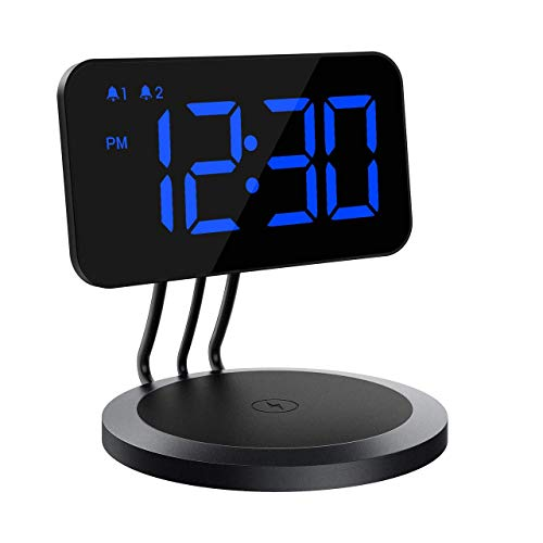- Mpow Digital Alarm Clock with Wireless Charger, Dual Digital Alarm Clock with Adjustable Brightness,3 Ringtones, Bedside Alarm Clocks with Snooze for Bedroom, Kitchen, Office