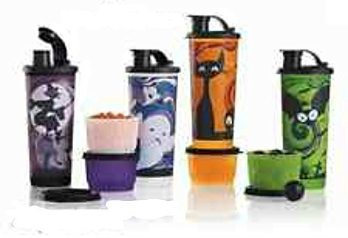 Halloween Spooky Tumbler Snack Cup Set Spill Proof Lids (4 Set Bundle) -