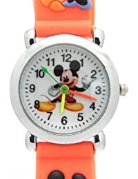 Mickey Mouse Cartoon Kids Orange Rubber Band Water Resistant Stainless Steel Case Quartz Watches