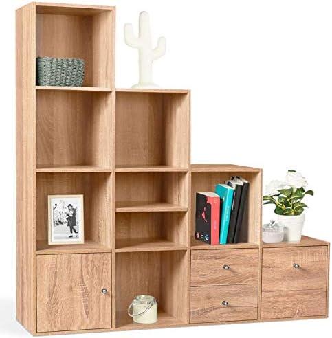 IDMarket – Mueble de escalera, 4 niveles madera imitación haya con puerta y cajones: Amazon.es: Bricolaje y herramientas