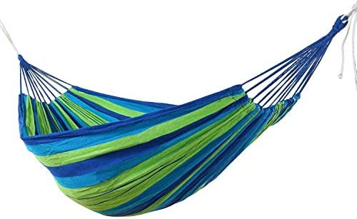 Home & Garden Portable Outdoor Garden Hammock Travel Camping Swing Hang Bed Hiking Picnic Leisure Canvas Stripe Hammock Outdoor Hammock Bedding