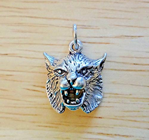Sterling Silver 17x15mm 3gram Detail Bobcat Wildcat Head Animal Charm Hollow bk Jewelry Making Supply, Pendant, Sterling Charm, Bracelet, Beads, DIY Crafting and Other by Wholesale - Wildcat Bracelet Head