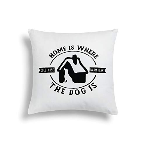 Dog Designer Pillow (Home Where Dog is Classic White 16 x 16 Cotton Polyester Fiberfill Throw Pillow)
