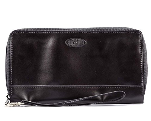 Big Skinny Women's Panther Leather Clutch Slim Wallet, Holds Up to 40 Cards, - Leather Panther
