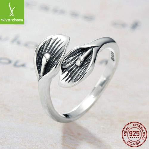 FidgetGear Authentic 925 Sterling Silver Leaf Flower Open Rings for Women Adjustable Ring