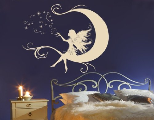 Amazon.com: Wall Spirit Moon Fairy   Wall Decals/Wall Tattoo 2300, 31in X  25in, Yellow: Home U0026 Kitchen