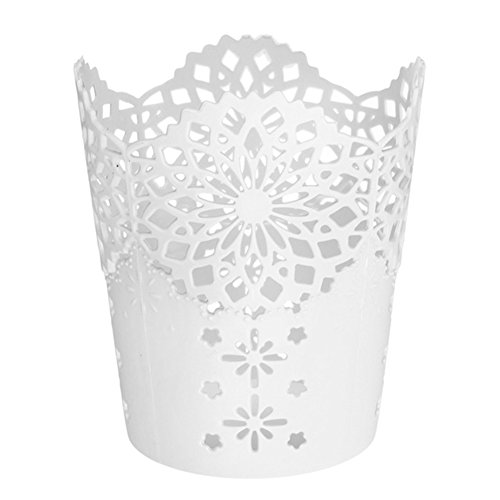 Qingsun Hollow Flower Pattern Cylinder Desk Office Supplies Make up Brushes Plastic Pen Pencil Pot Holder Organizer Stationery Container(White) (Pattern Hollow Flower)