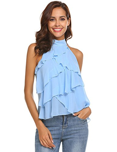 Concep Women's Layered Chiffon Party Blouse Sleeveless A Line Halter Neck Tank Top (Sky Blue L) ()