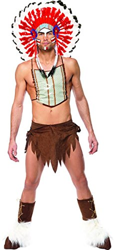 Ymca Halloween Costumes (Smiffy's Men's Village People Indian Costume, Headdress, Loincloth, Chest Plate)