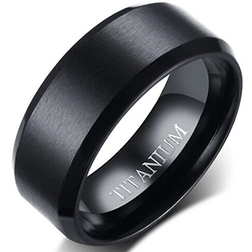 Jude Jewelers 8MM Matte Black Solid Titanium Ring Wedding Band (Titanium, 8.5) ()
