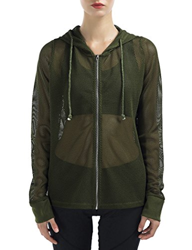SPECIALMAGIC Women's Long Sleeve Full Mesh Hooded Hoodie with Metal Zip Army Green S