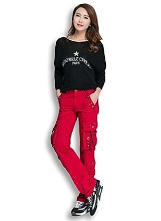 Lixmee Women's Outdoor Straight Regular Cargo Pants_9309 Red XX-Small