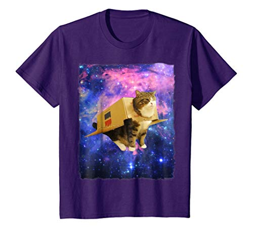Kids Astronaut Cat Shirt Awesome Box Spaceship Epic Cat Meme Tee 12 Purple