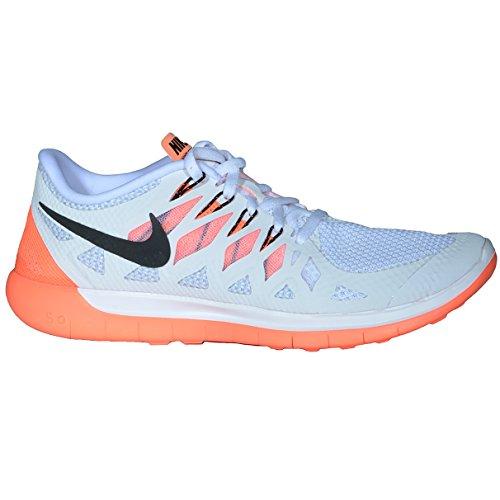 Nike Wmns Free 5.0, Scarpe da Corsa da Donna White/Black/Bright Mango/Platinum