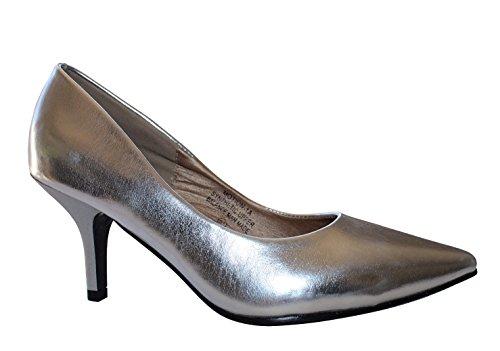 Movimento-1a Donna Slip On Punta Tacco Alto Pompe A Spillo Scarpe Stiletto Argento