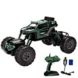 Hot  171601B RC Car 1:16 2.4G 4WD Off Road Vehicle Rechargeable Climbing Crawler Off-Road Radio Remote Control Car with Pistol Grip Style Transmitter for Adults and Children (Army Green)