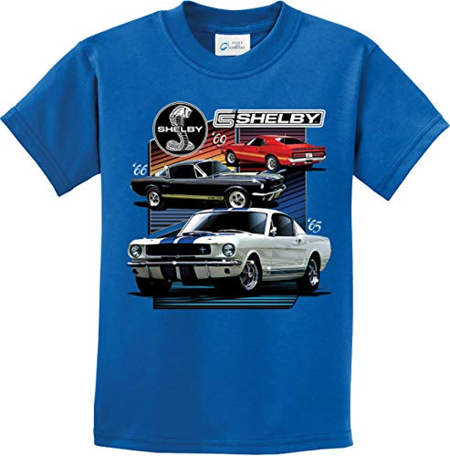 Ford Mustang Various Shelby Youth Kids Shirt, Royal XL
