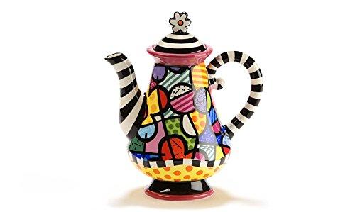 Romero Britto Ceramic Flower Design Teapot