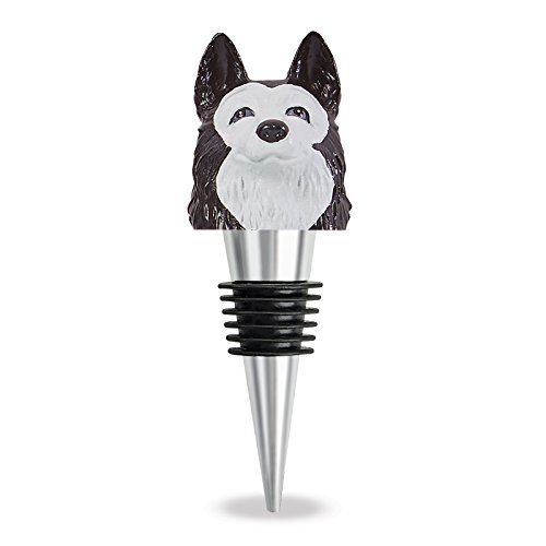 Wine Stopper Black and White Husky By Wild Eye