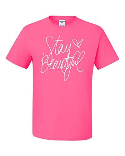 Stay Beautiful Lyric Song Fashion Tee Graphic Unisex T-Shirt - ( 2XL , Neon Pink ) (Fun Halloween Song Lyrics)