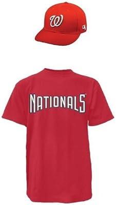 Washington Nationals MLB gorra y camiseta (réplica oficial de grandes ligas  de béisbol sombrero y algodón cuello redondo camiseta réplica de la camiseta ) 9d8ba3f7aaf