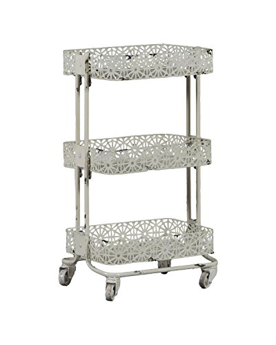 "Linon AMME3TIERC1 3-Tier Cart Metal, 29.5"" x 17"" x 11"", Cream from Linon"
