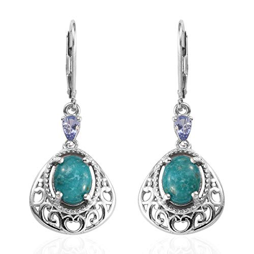 (925 Sterling Silver Platinum Plated Turquoise Tanzanite Dangle Drop Earrings for Women Jewelry Gift)
