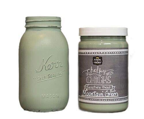 Chalk Finish Paint - Furniture & Cabinet Paint (32 oz, Mountain Green)