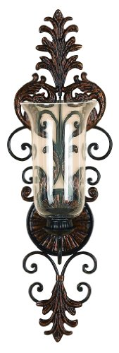 Lighting Tall Sconce Candle - Deco 79 Victorian-Style Metal and Glass Ornate Candle Sconce, 31