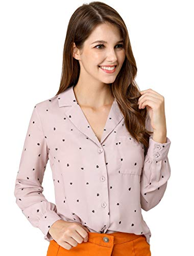 Allegra K Women's Button Down Notched Lapel V Neck Long Sleeves Heart Polka Dots Shirt Tops with Chest Pocket XS Pink