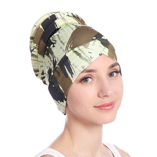 Toponly Islamic Muslim Hijab Turban Hat Headwrap Scarf Cover Chemo Cap Newly for Women Army Green