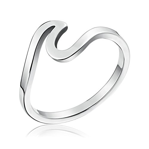 Faurora Rings for Women Wave Ring Engagement Rings Women Rings Size 8 Gift Set (silvery) (Steel Stainless Ring Wave)