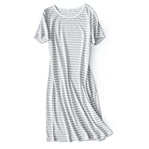 Pajamas Ladies Short-sleeved Knitted Cotton Striped Short-sleeved Nightgown Home Dress Skirt Female Summer Long Section(One Size) Adults Bath Robe ( Color : Gray )