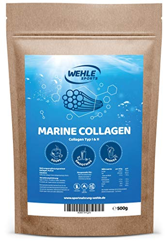 Marine Kollagen Pulver 500g - Collagen Hydrolysat Peptide Typ I und Typ II - Wehle Sports Fisch Kollagen Geschmacksneutral