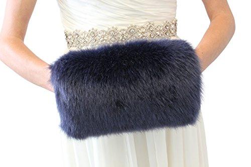 Bridal Fur Hand Muff Navy...
