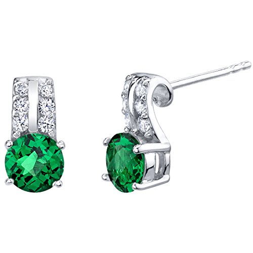 Simulated Emerald Sterling Silver Arc Stud Earrings 1.50 Carats Total