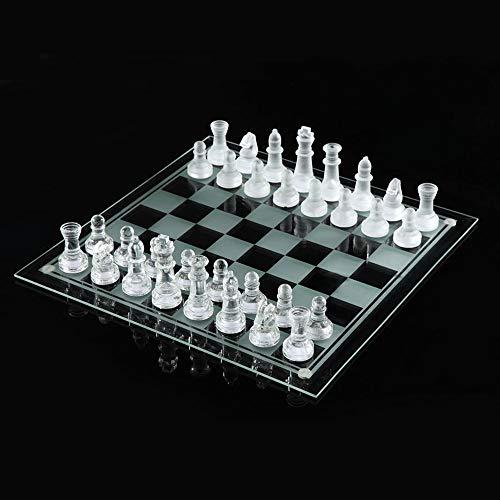 Yinghuawen Tablero de ajedrez de Calidad y ajedrez de Cristal for Adultos, Tablero de Juego portátil for Viajes de Alta…