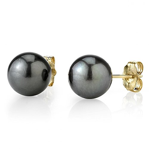 THE PEARL SOURCE 14K Gold 9-10mm Round Tahitian South Sea Cultured Pearl Stud Earrings for Women Black Stud Earring Box
