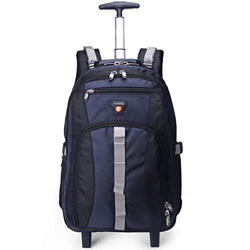 AOKING 22 Inch Water Resistant Travel School Business Rolling Wheeled Backpack with Laptop Compartment Bag, Carry On Luggage with Spinner Wheels (22 inch, Blue) (Best Carry On With Laptop Compartment)
