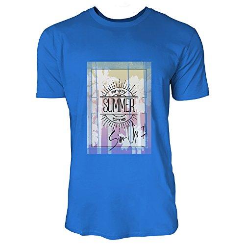 SINUS ART® Enjoy Summer Times Herren T-Shirts in Blau Fun Shirt mit tollen Aufdruck