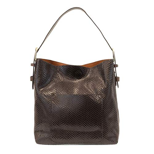 Joy Susan Python Sara Bucket Hobo Handbag (Chocolate) -