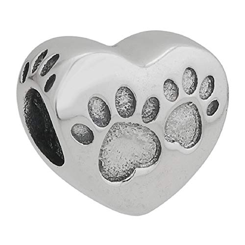 - Dog Paw Footprint Charms 925 Sterling Silver Beads for Charms Bracelets (Dog Mom)