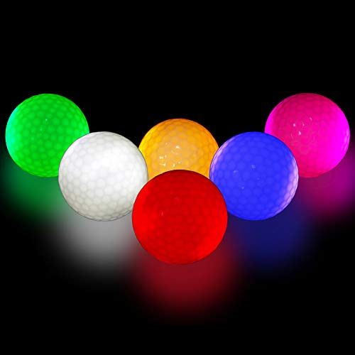 Glow Golf Balls, Golf Ball Glowing in the Dark Golf Balls Long Lasting Flashing for Night Sports Multi Colors for Your Choice, Pack of 6, Red, Orange, White, Green, Pink, Blue and 6pcs Golf Tees