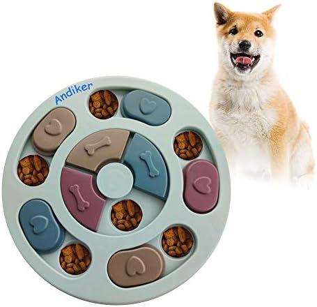 Andiker Round Dog Puzzle Feeder Toy, Durable Dog Interactive Toy, Dog Brain Games, Improving IQ (Blue)