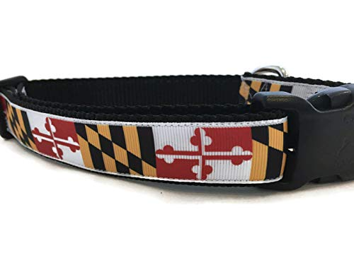 Caninedesign, Maryland Crab Dog Collar, 1 inch, Nylon, Side Release Buckle, Adjustable, Medium and Large (Flag Medium 13-19
