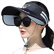 Womens Mens Retractable Wide Brim Sun Visor Hat UV Protection Beach Sun Visor